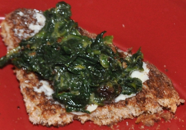 spinach toast close up